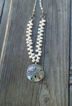 Sand Dollar Freshwater Pearls and Sterlings Silver Beach by smisko