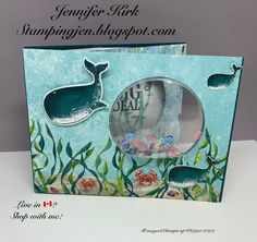 Stamping with Jen - Whale of A Time Peek A Boo Slider Shaker Card! Fun Fold Cards, Folded Cards, Karten Diy, Slider Cards, Kids Birthday Cards, Animal Cards, Card Envelopes, Peek A Boos, Card Designs