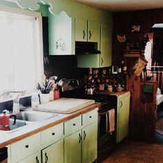 Charming mint kitchen at @Tata Harper farm cottage.