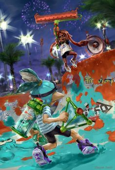 "stupjam: the ""Tournament"" Congrats to stupjam for being a runner up in our Splatoon Art Contest! Here's what the Splatoon Dev Team had to say: ""The atmosphere of Turf War is expressed perfectly here. Anyone who's played Splatoon before can look at this painting and feel the tension of a fierce Turf War match.The slightly slanted composition and the coarse bush strokes are very effective. #Inkling"