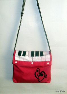 Piano Bag Music Purse Messenger Bag Upcycled by theeKissOfLife, $21.00