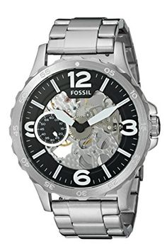 Fossil Mens Stainless Steel Automatic Watch ColorSilverToned Model ME3129 *** You can find more details by visiting the image link. (Note:Amazon affiliate link)