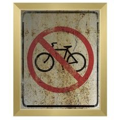 """Click Wall Art 'No Bicycles Weathered' Framed Graphic Art on Canvas Size: 16.5"""" H x 13.5"""" W x 1"""" D, Frame Color: Gold"""