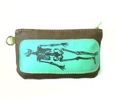 Skeleton phone Case in Brown Recycled and Seafoam New Leather