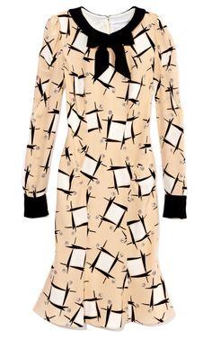 Carolina Herrera Abstract Houndstooth Twill Dress