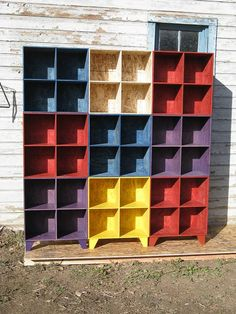 modular OSB stained multi colored bookcase cubby storage by modosb, $449.00