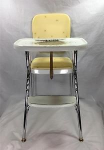 retro high chairs babies toddler tables and set pinterest image detail for vintage 1950s yellow chrome cosco highchair chair vinyl