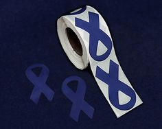 Large Dk Blue Ribbon Stickers (250 Ct)