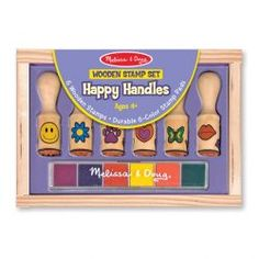 Melissa & Doug Happy Handles Wooden Stamp Set: 6 Stamps and Stamp Pad Kite Shop, Puzzle Shop, Alphabet Stamps, Wooden Alphabet, Melissa & Doug, Stamp Pad, Developmental Toys, Stuffed Toys Patterns, Wooden Handles