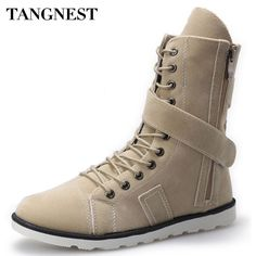 Buy now Tangnest 2017 Autumn New Men's Mid-Calf Boots Fashion Canvas Martin Boot Hook&Loop Casual High Top Shoes Size 39-44 XMX096 just only $25.99 with free shipping worldwide  #menshoes Plese click on picture to see our special price for you
