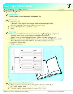 The student will identify details and main idea in text.