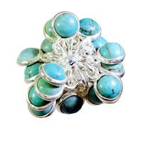 bonny Turquoise Silver Turquoise Ring Designer L-1in US 5678