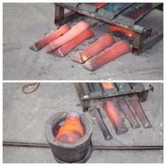 After a pour the boys will save any left over molten metal and pour it in these ingot moulds ready for the next melt!