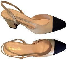 f1029c3e73 Kaitlyn Pan Two-Tone Block Heel Slingback Pumps in beige and black (Chanel  knockoffs)