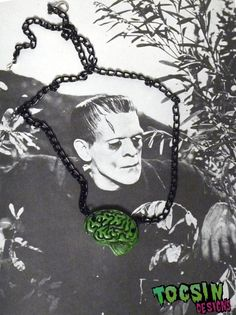 FRANKENSTEIN  BRAIN NECKLACE zombie  undead brain by TocsinDesigns