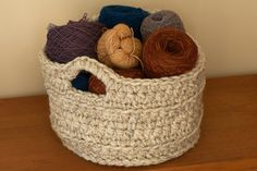 Chunky Crocheted Basket - free pattern. Quick project. Uses super bulky weight yarn.