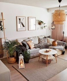 Home Interior Design — Bohemian Inspirations. Neutral earth tones in this. Home Interior Design — Bohemian Inspirations. Neutral earth tones in this. Living Room Scandinavian, Boho Living Room, Living Room Interior, Home And Living, Modern Living, Bohemian Living, Small Living, Earth Tone Living Room Decor, Gray Couch Living Room