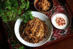 Majadra…an exquisite combination of lentils and bulgur | Can't live without…