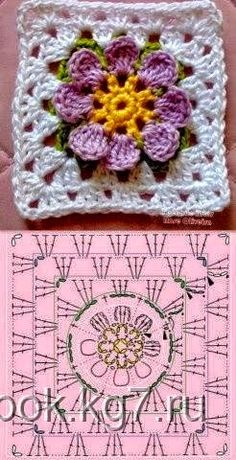 Manta cubrecama con grannys florales en 3D - con esquemas   Crochet y Dos agujas