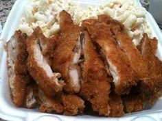 HAWAIIAN CHICKEN KATSU L&L Hawaiian Barbecue Recipe Serves 5-7 Chicken and Breading: 2 eggs 3⁄4 cup cornstarch 1⁄4 teaspoon salt...
