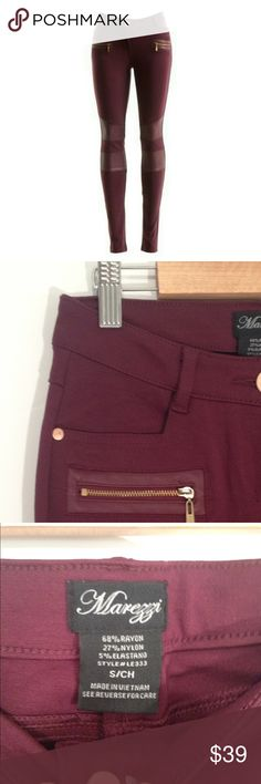 """Burgundy / Wine Moto Pants Moto biker style pants with vegan leather inserts and zippers. Great for Fall. Two real pockets in front and two back pockets. Really nice quality pants/jeggings. Lots of stretch. For reference, I am wearing my black pair in my listing of the khaki bamboo tunic.  Smoke free home.   MEASUREMENTS TAKEN FLAT:   WAIST: 13"""" RISE: 8.5"""" INSEAM: 29""""  Slim in the hips and thighs.  Brand new condition. Nothing wrong with them, I have another similar burgundy pair of skinny…"""