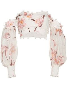 Shop Zimmermann Corsage Bauble floral print off shoulder linen top Kpop Fashion Outfits, Stage Outfits, Fashion Dresses, Womens Fashion, Punk Fashion, Lolita Fashion, Retro Fashion, Crop Top Outfits, Summer Outfits