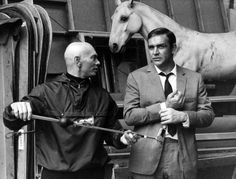 Sean Connery visits Yul Brynner on the set of The Double Man
