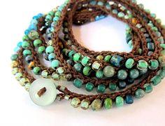 Atlantis stones beaded crochet wrap bracelet - product images  of