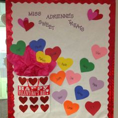 """Valentines Day bulletin board/ door decorating """"Broad bay manors sweet staff"""" and have a heart for each faculty member Valentines Day Bulletin Board, Valentine Theme, Valentines Day Decorations, Valentine Day Crafts, Valentine Ideas, Church Bulletin Boards, Preschool Bulletin Boards, School Door Decorations, Preschool Crafts"""