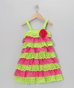 Take a look at this Green & Pink Lace Tiered Ruffle Dress - Toddler & Girls by Dolce Liya on #zulily today!