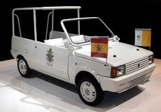 SEAT Panda popemobile used by John Paul II during his visit to Spain in 1982 Mercedes M Class, Carbon Fiber Spoiler, Fiat Panda, Order Of The Day, Fiat Abarth, Steyr, Lamborghini Huracan, Donate To Charity, Commercial Vehicle