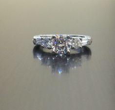 Platinum Art Deco Engraved Diamond Engagement Ring - Diamond Platinum Wedding Ring by DeKaraDesigns on Etsy https://www.etsy.com/listing/189057966/platinum-art-deco-engraved-diamond