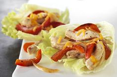 No tortillas required for these quick and easy chicken fajita wraps! We used large iceberg lettuce leaves to deliver the deliciousness.