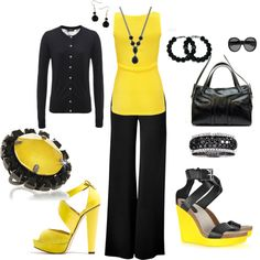 """""""Black and Yellow"""" by brandy-bozeman-dyess on Polyvore"""