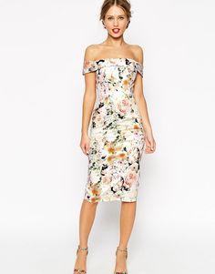 Платье-футляр с открытыми плечами и цветочным принтом ASOS WEDDING - Цветочный рисунок