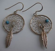 DREAMCATCHER Wire Earrings Sterling Silver 925 Turquoise