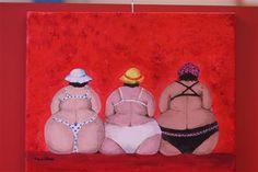 3 dikke dames op een rij