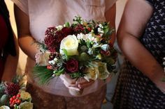 bouquet with pine cones. red too dark, perhaps.