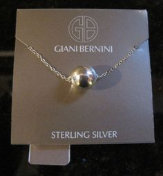 "Giani Bernini~Sterling Silver~10mm Ball Bead Pendant Necklace~18""~$50 #GianiBernini #Pendant"