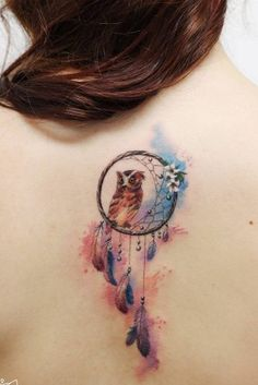 Cute Watercolor Owl Tattoo Design With Dream Catcher Cute tattoos with meaning for women who are in love with fashion, style, and higher knowledge. Body Art Tattoos, New Tattoos, Tattoos For Guys, Tattoos For Women, Owl Tattoo Meaning, Cute Tattoos With Meaning, Trendy Tattoos, Small Tattoos, Feminine Tattoos