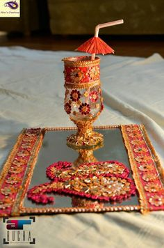 For the 'doodh pilai' rasam Desi Wedding Decor, Indian Wedding Decorations, Wedding Stage, Wedding Crafts, Wedding Events, Weddings, Indian Decoration, Wedding Photoshoot, Wedding Bells