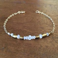 Rainbow Moonstone Bracelet Gold Filled Chain by AgostinaJewelry
