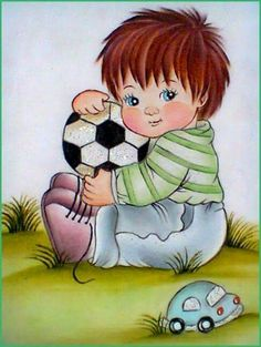 NIÑO CON PELOTA1 Baby Drawing, Drawing For Kids, Painting For Kids, Art For Kids, Clipart Boy, Cartoon Sketches, Boy Pictures, Children Images, Cute Photos