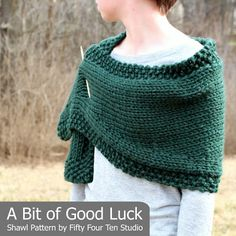 "Fifty Four Ten Studio: ""A Bit of Good Luck"" Easy Shawl Knitting Pattern Free Knit Shawl Patterns, Winter Knitting Patterns, Outlander Knitting Patterns, Beginner Knitting Patterns, Knit Vest Pattern, Knitting Yarn, Crochet Shawls And Wraps, Knitted Shawls, Knit Wrap"