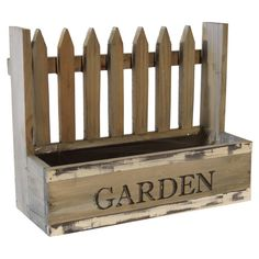 I think this would be so easy to build myself one! Featuring a picket fence design and distressed finish, this classic planter is perfect for starting a miniature herb garden in the kitchen window. Rustic Planters, Fence Planters, Wood Planter Box, Picket Fence Crafts, Wood Picket Fence, Diy Fence, Fence Ideas, Diy Wood Projects, Wood Crafts