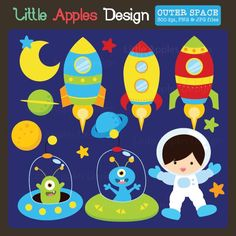 Outer Space Clipart - perfect for invitations, stickers, crafts and more.