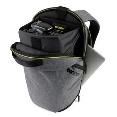 """13"""" MacBook Backpack Reform Action Camera Backpack Protects and stores your photo and video essentials, MacBook and more in a compact, comfortable to carry design. Side-access zippers keep everything close at hand while a padded faux-fur lined notebook compartment ensures your MacBook is well protected."""