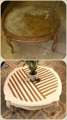 Before and after, Coffee table redo, upcycle, DIY, painted furniture, white and gold, thrift store find, furniture makeover. @idlehandsdecore