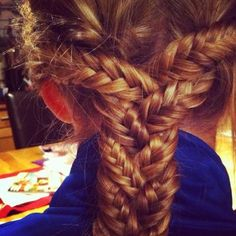 """Inception"" braid with three fishtails"