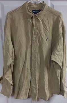 Ralph Lauren Blake Tan Brown Button Up Dress Shirt Sz XL X-Large Silk Linen EUC #RalphLauren #ButtonFront